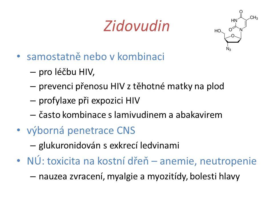 Zidovudin samostatně nebo v kombinaci – pro léčbu HIV, – prevenci přenosu HIV z těhotné matky na plod – profylaxe při expozici HIV – často kombinace s