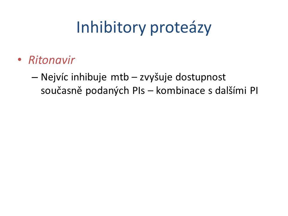 Inhibitory proteázy Ritonavir – Nejvíc inhibuje mtb – zvyšuje dostupnost současně podaných PIs – kombinace s dalšími PI