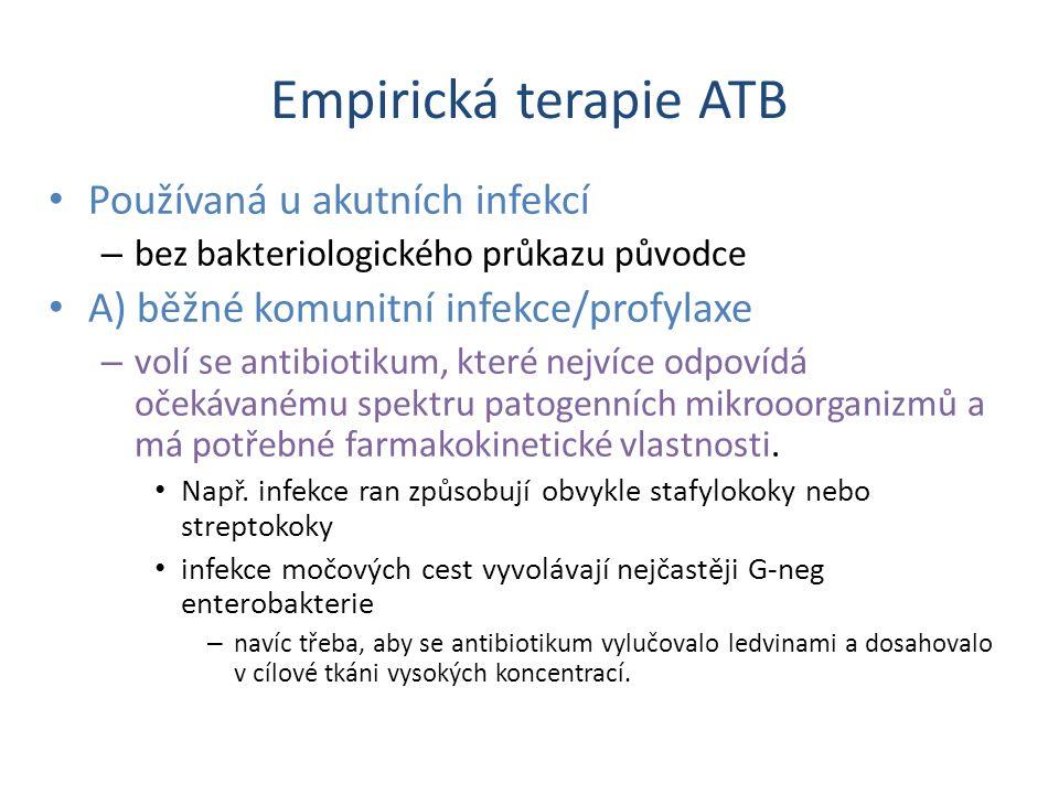 Empirická terapie ATB Používaná u akutních infekcí – bez bakteriologického průkazu původce A) běžné komunitní infekce/profylaxe – volí se antibiotikum