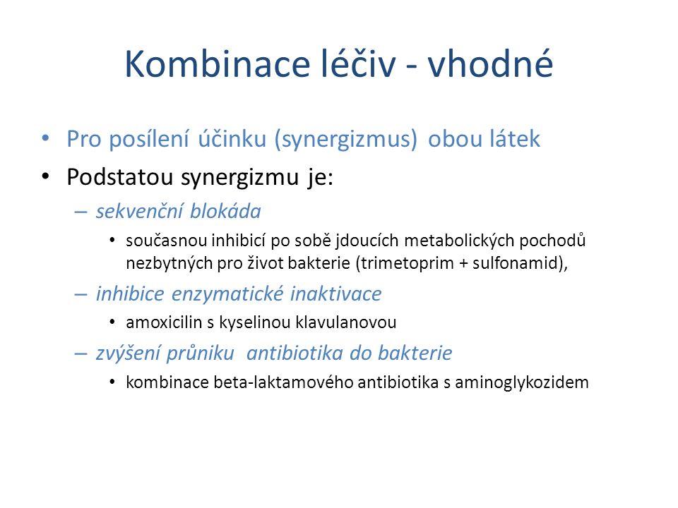 Kombinace léčiv - vhodné Pro posílení účinku (synergizmus) obou látek Podstatou synergizmu je: – sekvenční blokáda současnou inhibicí po sobě jdoucích