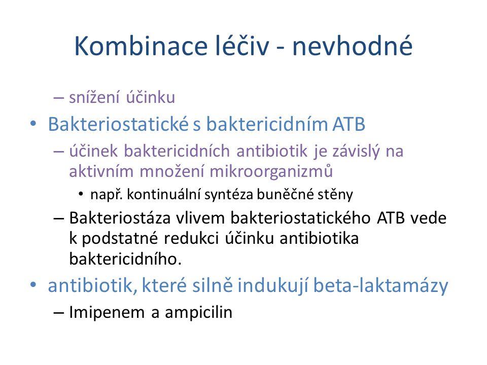 Kombinace léčiv - nevhodné – snížení účinku Bakteriostatické s baktericidním ATB – účinek baktericidních antibiotik je závislý na aktivním množení mik