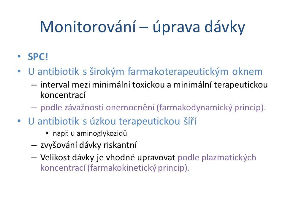 Monitorování – úprava dávky SPC! U antibiotik s širokým farmakoterapeutickým oknem – interval mezi minimální toxickou a minimální terapeutickou koncen