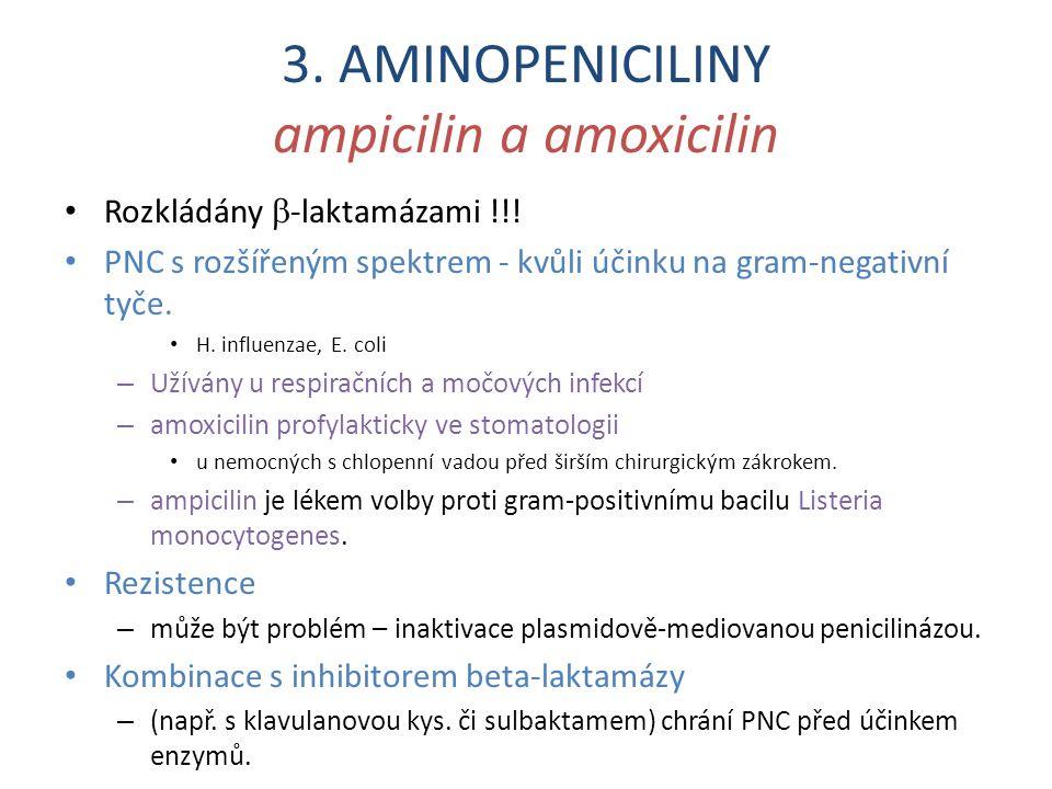 3. AMINOPENICILINY ampicilin a amoxicilin Rozkládány  -laktamázami !!! PNC s rozšířeným spektrem - kvůli účinku na gram-negativní tyče. H. influenzae