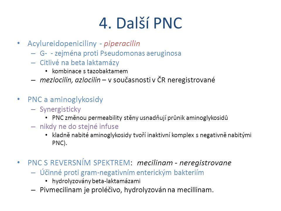 4. Další PNC Acylureidopeniciliny - piperacilin – G- - zejména proti Pseudomonas aeruginosa – Citlivé na beta laktamázy kombinace s tazobaktamem – mez