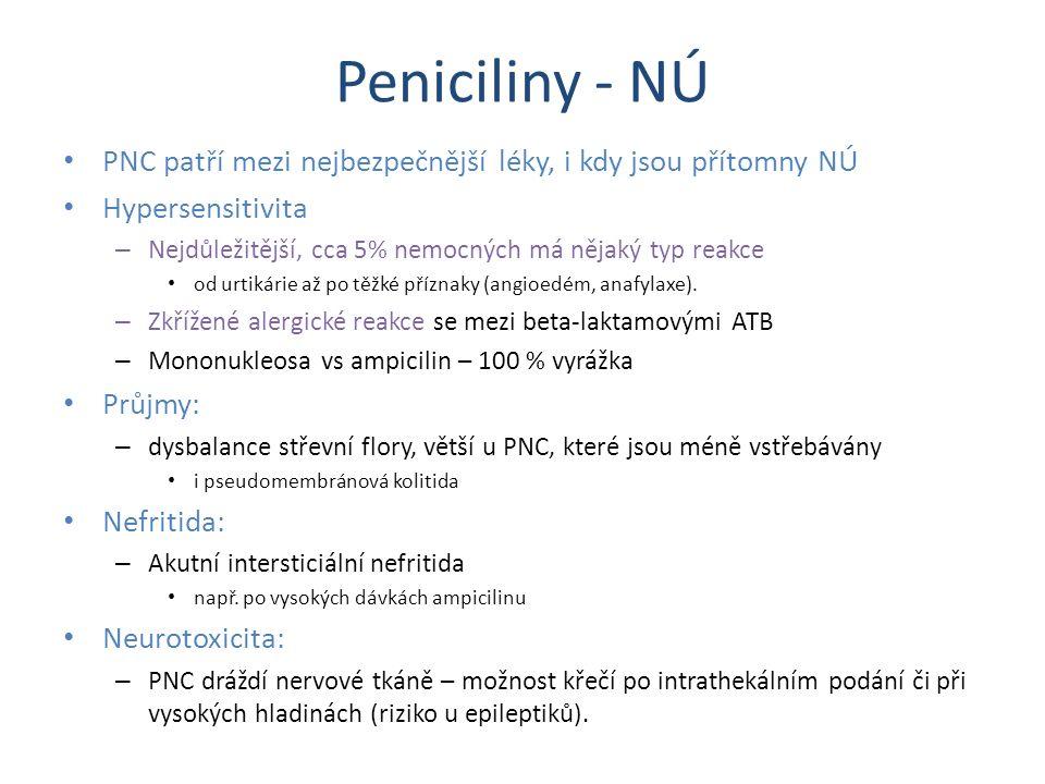 Peniciliny - NÚ PNC patří mezi nejbezpečnější léky, i kdy jsou přítomny NÚ Hypersensitivita – Nejdůležitější, cca 5% nemocných má nějaký typ reakce od