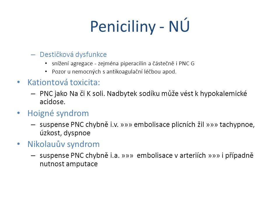 Peniciliny - NÚ – Destičková dysfunkce snížení agregace - zejména piperacilin a částečně i PNC G Pozor u nemocných s antikoagulační léčbou apod. Katio