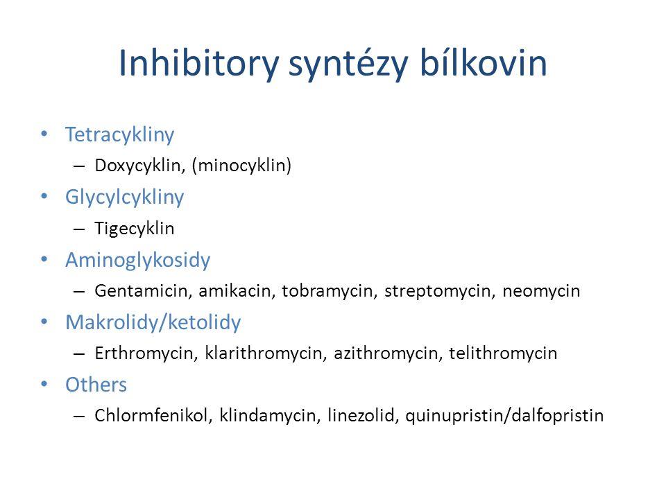 Inhibitory syntézy bílkovin Tetracykliny – Doxycyklin, (minocyklin) Glycylcykliny – Tigecyklin Aminoglykosidy – Gentamicin, amikacin, tobramycin, stre