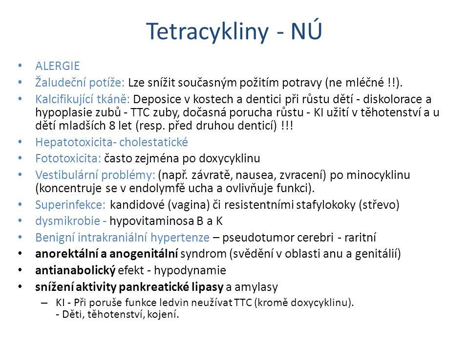 Tetracykliny - NÚ ALERGIE Žaludeční potíže: Lze snížit současným požitím potravy (ne mléčné !!). Kalcifikující tkáně: Deposice v kostech a dentici při