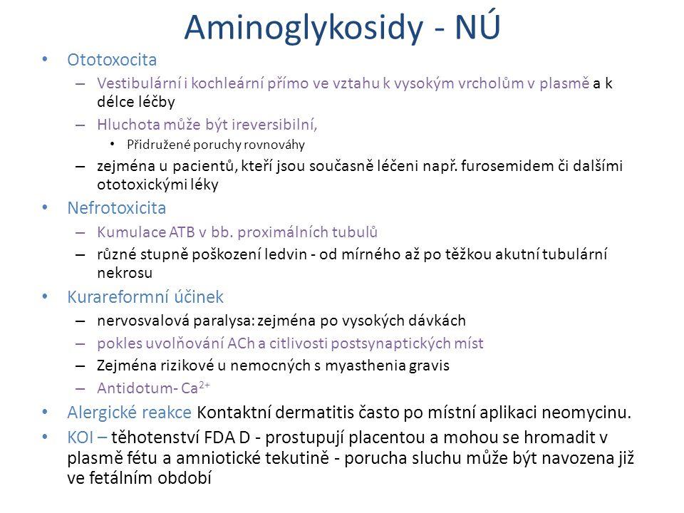 Aminoglykosidy - NÚ Ototoxocita – Vestibulární i kochleární přímo ve vztahu k vysokým vrcholům v plasmě a k délce léčby – Hluchota může být ireversibi