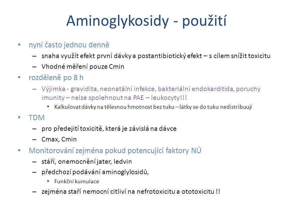 Aminoglykosidy - použití nyní často jednou denně – snaha využít efekt první dávky a postantibiotický efekt – s cílem snížit toxicitu – Vhodné měření p