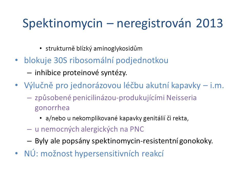 Spektinomycin – neregistrován 2013 strukturně blízký aminoglykosidům blokuje 30S ribosomální podjednotkou – inhibice proteinové syntézy. Výlučně pro j
