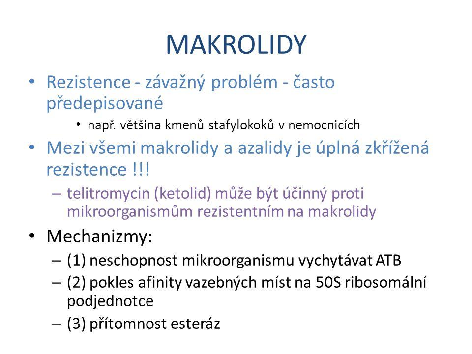 MAKROLIDY Rezistence - závažný problém - často předepisované např. většina kmenů stafylokoků v nemocnicích Mezi všemi makrolidy a azalidy je úplná zkř