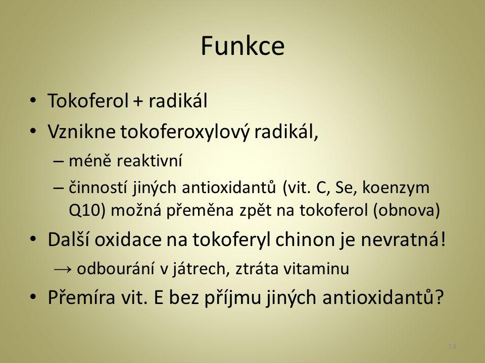 Funkce Tokoferol + radikál Vznikne tokoferoxylový radikál, – méně reaktivní – činností jiných antioxidantů (vit.