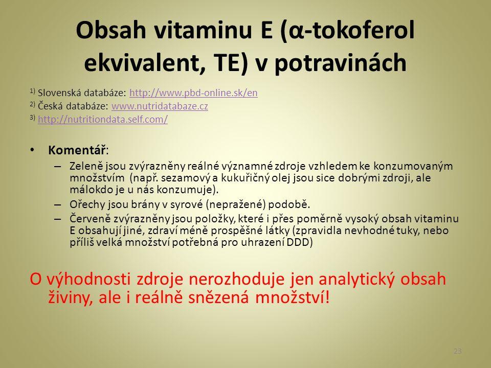 Obsah vitaminu E (α-tokoferol ekvivalent, TE) v potravinách 1) Slovenská databáze: http://www.pbd-online.sk/enhttp://www.pbd-online.sk/en 2) Česká databáze: www.nutridatabaze.czwww.nutridatabaze.cz 3) http://nutritiondata.self.com/http://nutritiondata.self.com/ Komentář: – Zeleně jsou zvýrazněny reálné významné zdroje vzhledem ke konzumovaným množstvím (např.
