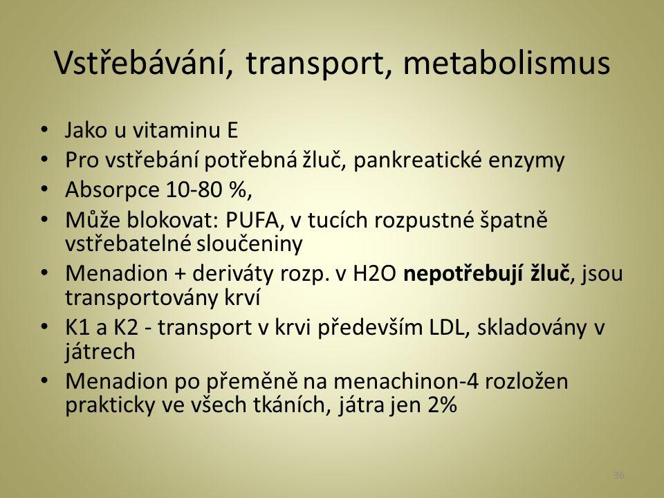 Vstřebávání, transport, metabolismus Jako u vitaminu E Pro vstřebání potřebná žluč, pankreatické enzymy Absorpce 10-80 %, Může blokovat: PUFA, v tucích rozpustné špatně vstřebatelné sloučeniny Menadion + deriváty rozp.