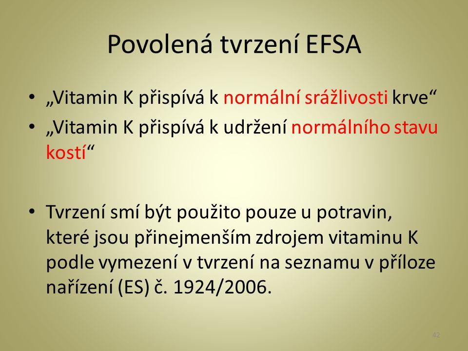 """Povolená tvrzení EFSA """"Vitamin K přispívá k normální srážlivosti krve """"Vitamin K přispívá k udržení normálního stavu kostí Tvrzení smí být použito pouze u potravin, které jsou přinejmenším zdrojem vitaminu K podle vymezení v tvrzení na seznamu v příloze nařízení (ES) č."""