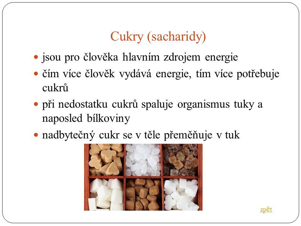 Cukry (sacharidy) jsou pro člověka hlavním zdrojem energie čím více člověk vydává energie, tím více potřebuje cukrů při nedostatku cukrů spaluje organismus tuky a naposled bílkoviny nadbytečný cukr se v těle přeměňuje v tuk zp ě t