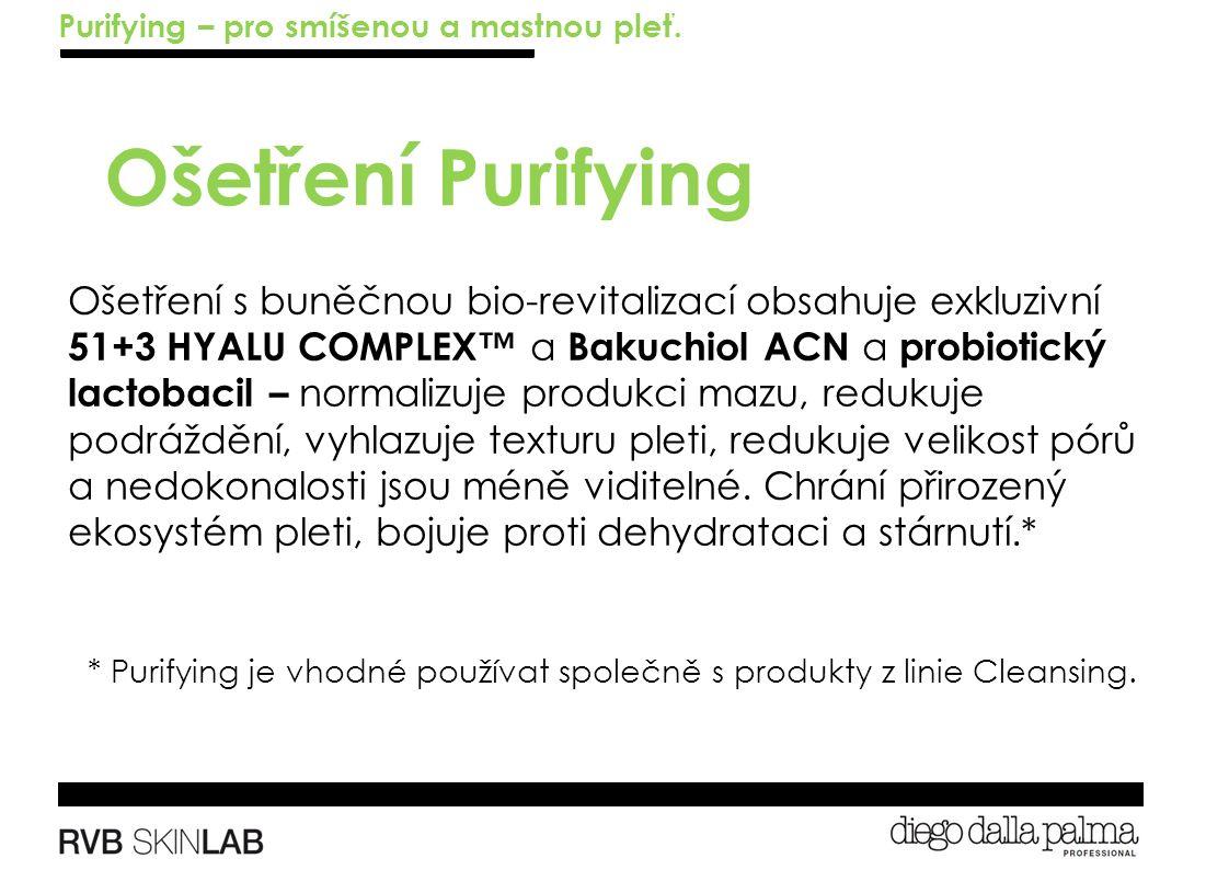 Ošetření Purifying Ošetření s buněčnou bio-revitalizací obsahuje exkluzivní 51+3 HYALU COMPLEX™ a Bakuchiol ACN a probiotický lactobacil – normalizuje produkci mazu, redukuje podráždění, vyhlazuje texturu pleti, redukuje velikost pórů a nedokonalosti jsou méně viditelné.
