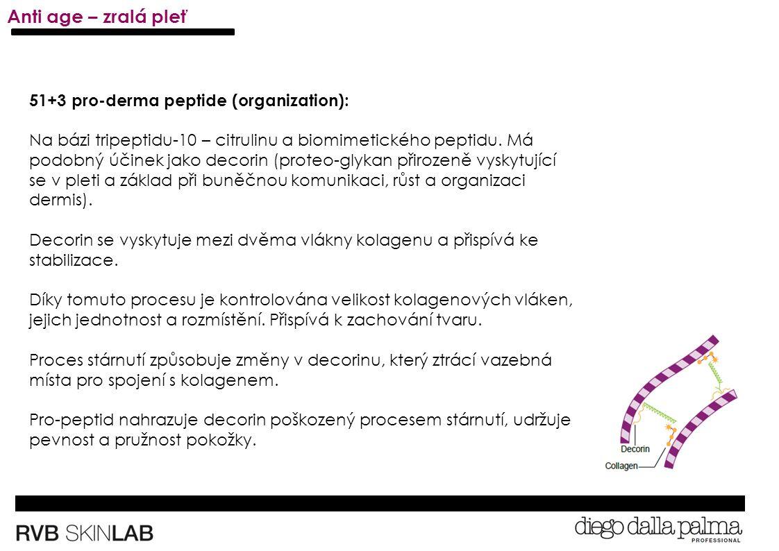 51+3 pro-derma peptide (organization): Na bázi tripeptidu-10 – citrulinu a biomimetického peptidu.
