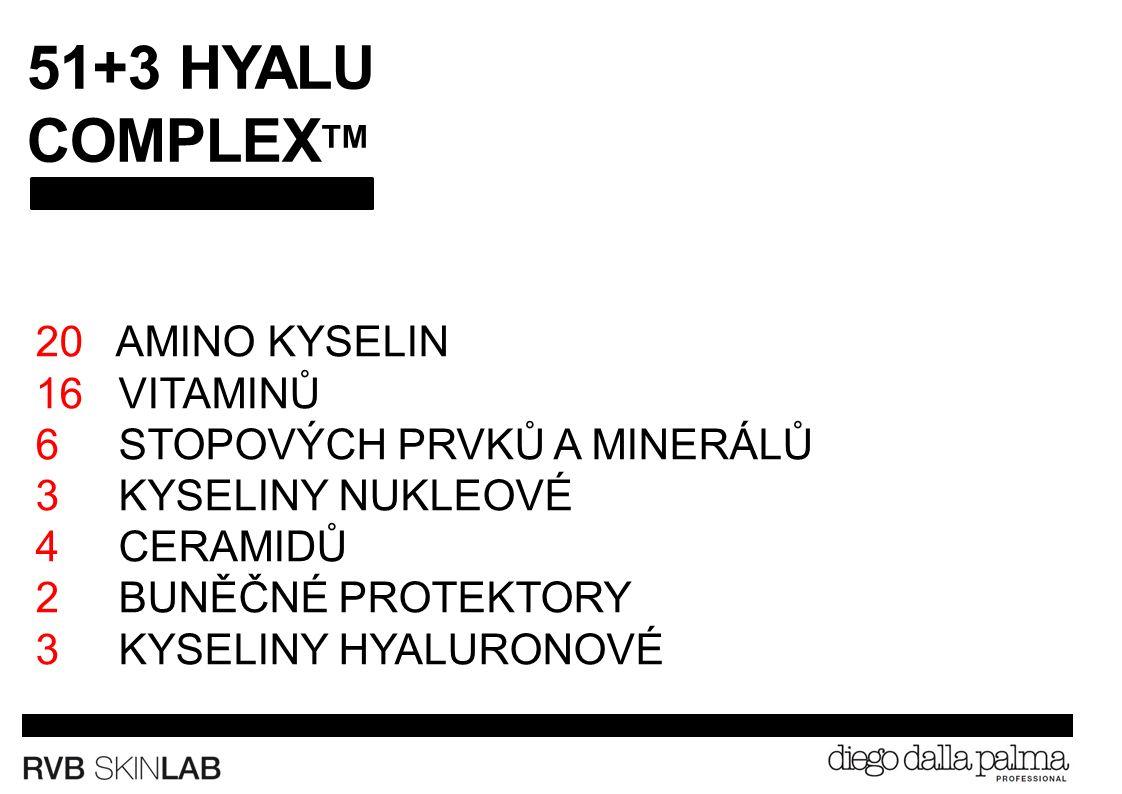 51+3 HYALU COMPLEX TM 20 AMINO KYSELIN 16 VITAMINŮ 6 STOPOVÝCH PRVKŮ A MINERÁLŮ 3 KYSELINY NUKLEOVÉ 4 CERAMIDŮ 2 BUNĚČNÉ PROTEKTORY 3 KYSELINY HYALURONOVÉ