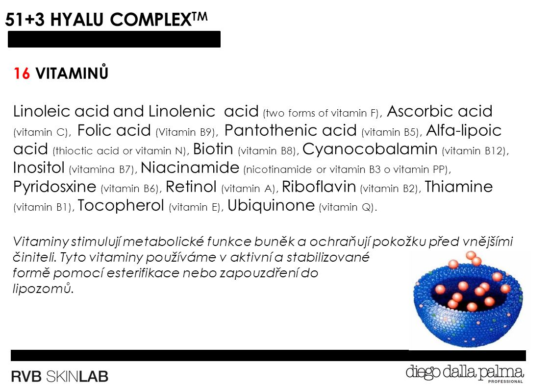 51+3 HYALU COMPLEX TM 16 VITAMINŮ Linoleic acid and Linolenic acid (two forms of vitamin F), Ascorbic acid (vitamin C), Folic acid (Vitamin B9), Pantothenic acid (vitamin B5), Alfa-lipoic acid (thioctic acid or vitamin N), Biotin (vitamin B8), Cyanocobalamin (vitamin B12), Inositol (vitamina B7), Niacinamide (nicotinamide or vitamin B3 o vitamin PP), Pyridosxine (vitamin B6), Retinol (vitamin A), Riboflavin (vitamin B2), Thiamine (vitamin B1), Tocopherol (vitamin E), Ubiquinone (vitamin Q).