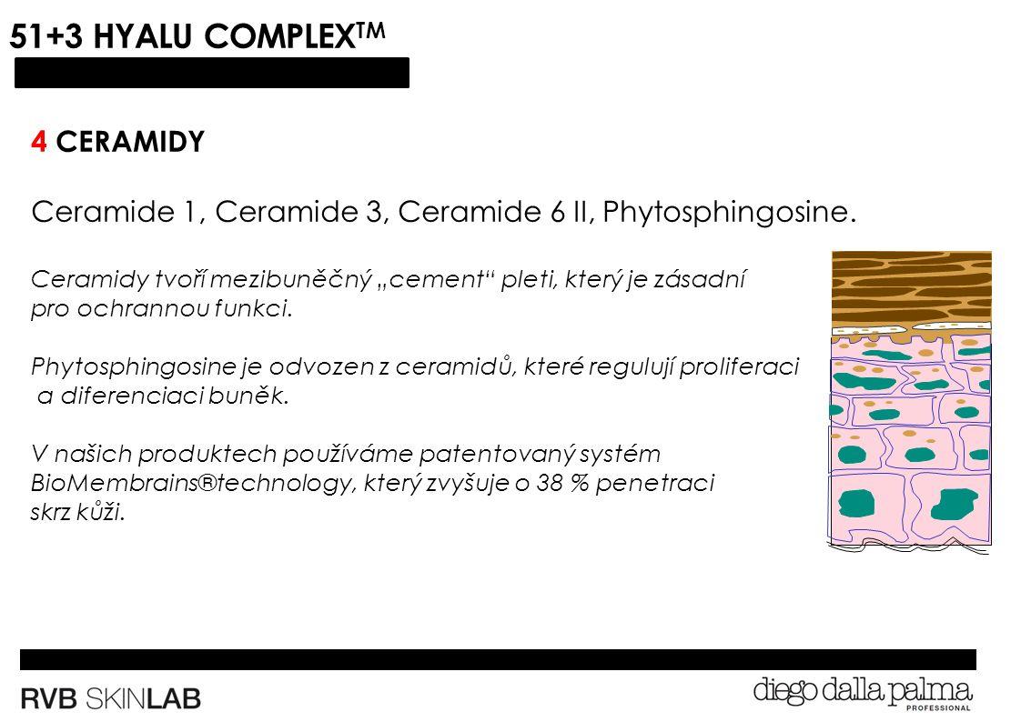 51+3 HYALU COMPLEX TM 4 CERAMIDY Ceramide 1, Ceramide 3, Ceramide 6 II, Phytosphingosine.