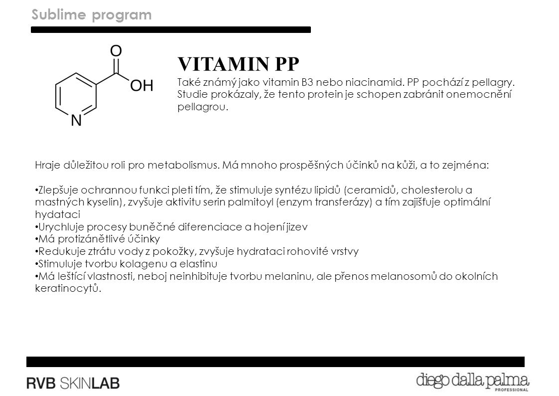 VITAMIN PP Také známý jako vitamin B3 nebo niacinamid.