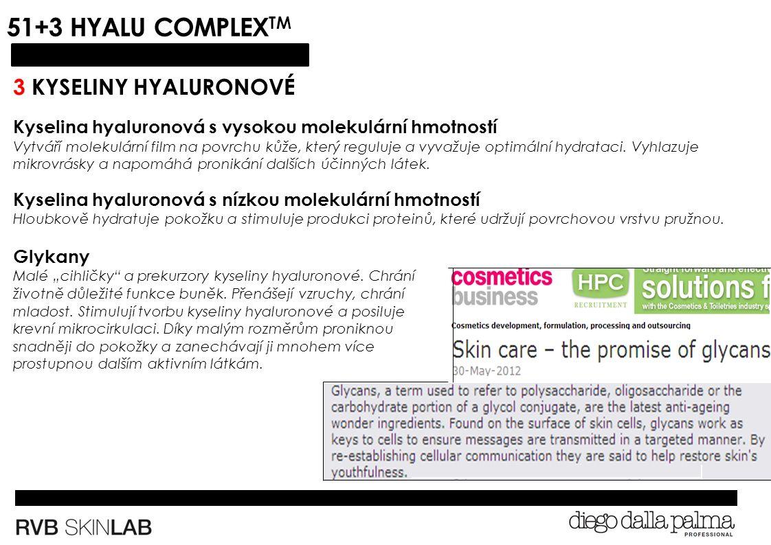 51+3 HYALU COMPLEX TM 3 KYSELINY HYALURONOVÉ Kyselina hyaluronová s vysokou molekulární hmotností Vytváří molekulární film na povrchu kůže, který reguluje a vyvažuje optimální hydrataci.