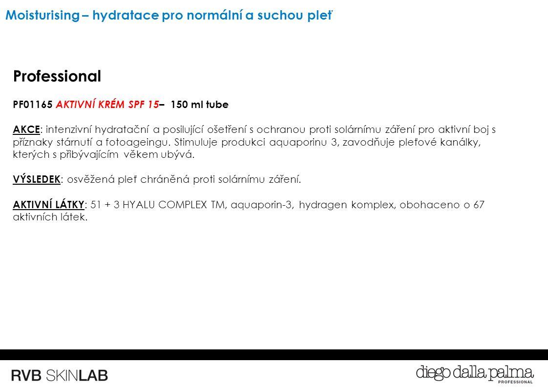 Professional PF01165 AKTIVNÍ KRÉM SPF 15 – 150 ml tube AKCE : intenzivní hydratační a posilující ošetření s ochranou proti solárnímu záření pro aktivní boj s příznaky stárnutí a fotoageingu.
