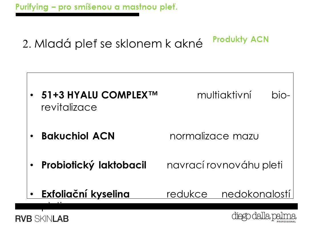 2. Mladá pleť se sklonem k akné Produkty ACN 51+3 HYALU COMPLEX™ multiaktivní bio- revitalizace Bakuchiol ACN normalizace mazu Probiotický laktobacil