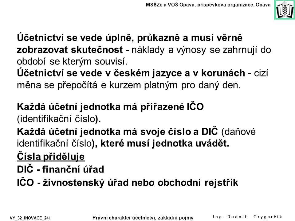 Ing. Rudolf Grygarčík MSŠZe a VOŠ Opava, příspěvková organizace, Opava VY_32_INOVACE_241 Každá účetní jednotka má přiřazené IČO (identifikační číslo).
