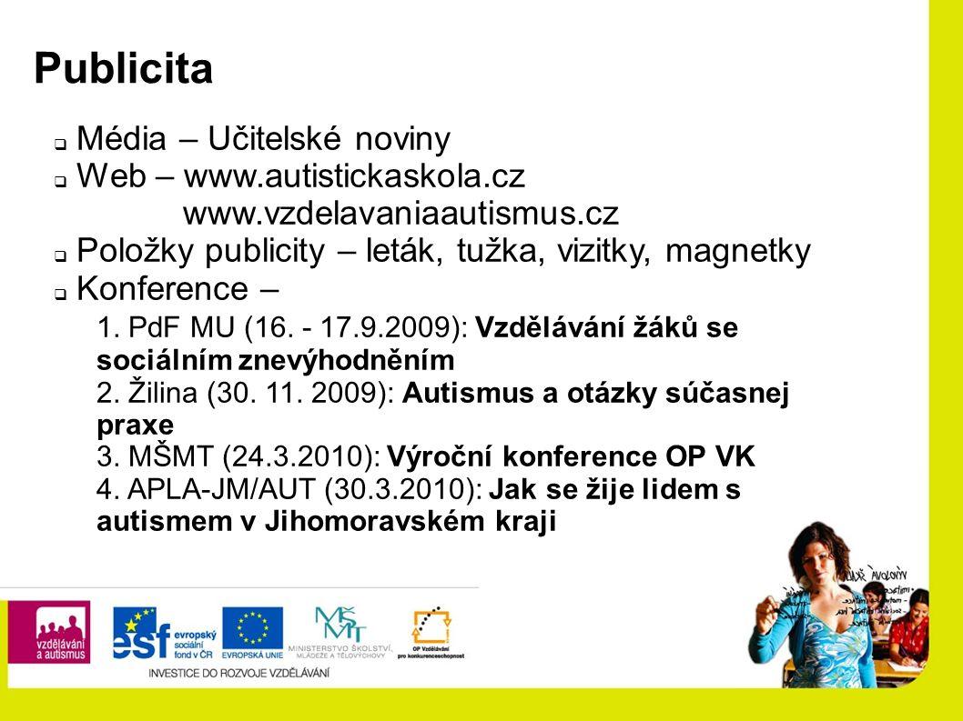 Publicita  Média – Učitelské noviny  Web – www.autistickaskola.cz www.vzdelavaniaautismus.cz  Položky publicity – leták, tužka, vizitky, magnetky  Konference – 1.