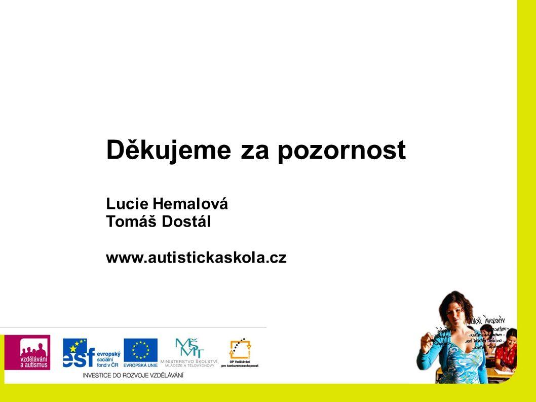 Děkujeme za pozornost Lucie Hemalová Tomáš Dostál www.autistickaskola.cz