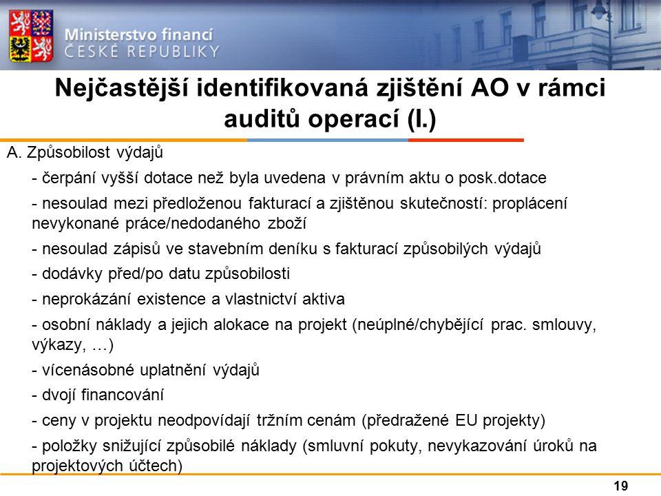 Nejčastější identifikovaná zjištění AO v rámci auditů operací (I.) A.