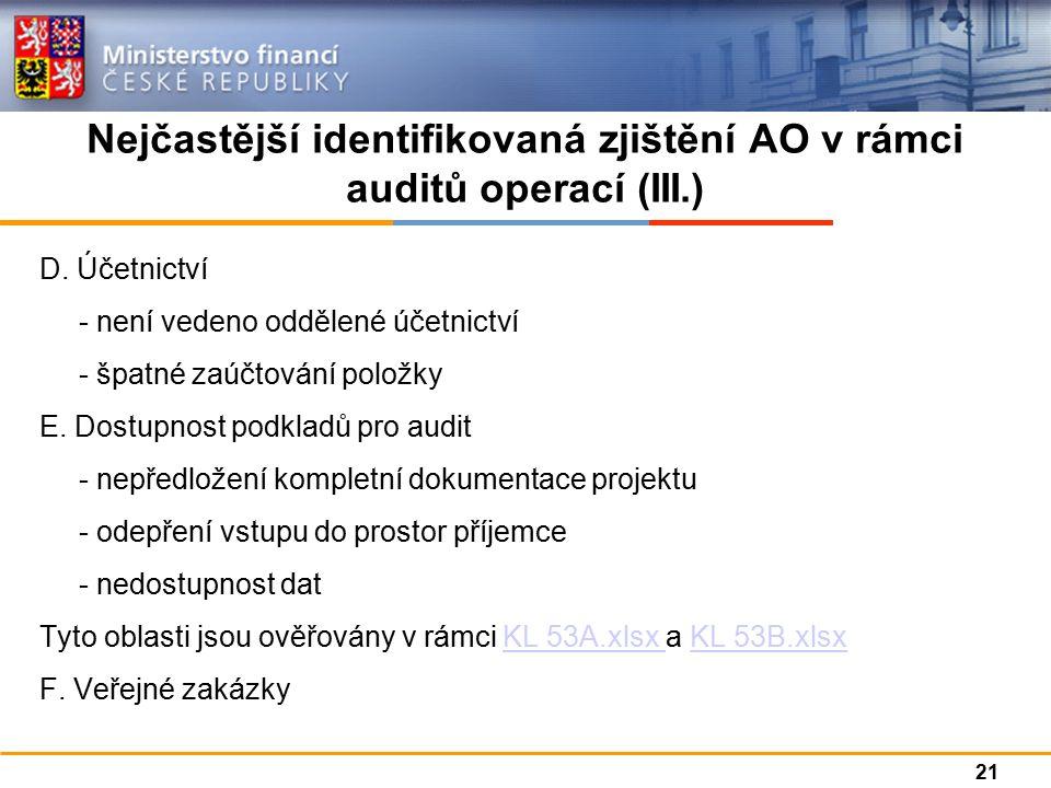 Nejčastější identifikovaná zjištění AO v rámci auditů operací (III.) D.