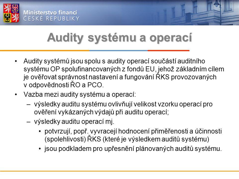 Audity systému a operací Audity systémů jsou spolu s audity operací součástí auditního systému OP spolufinancovaných z fondů EU, jehož základním cílem je ověřovat správnost nastavení a fungování ŘKS provozovaných v odpovědnosti ŘO a PCO.