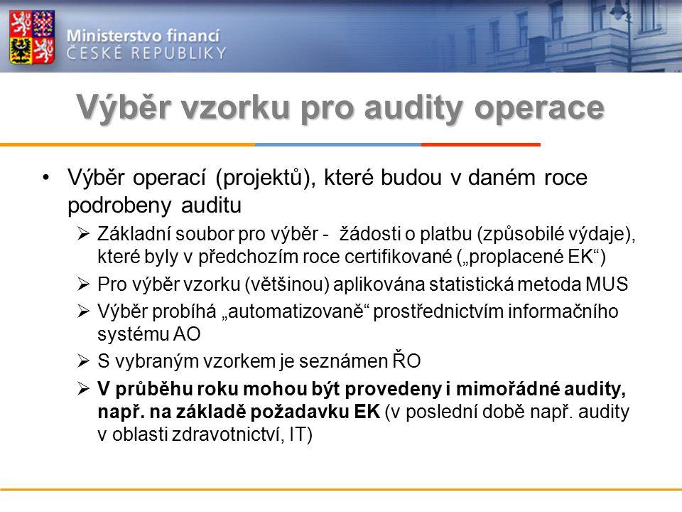 """Výběr vzorku pro audity operace Výběr operací (projektů), které budou v daném roce podrobeny auditu  Základní soubor pro výběr - žádosti o platbu (způsobilé výdaje), které byly v předchozím roce certifikované (""""proplacené EK )  Pro výběr vzorku (většinou) aplikována statistická metoda MUS  Výběr probíhá """"automatizovaně prostřednictvím informačního systému AO  S vybraným vzorkem je seznámen ŘO  V průběhu roku mohou být provedeny i mimořádné audity, např."""