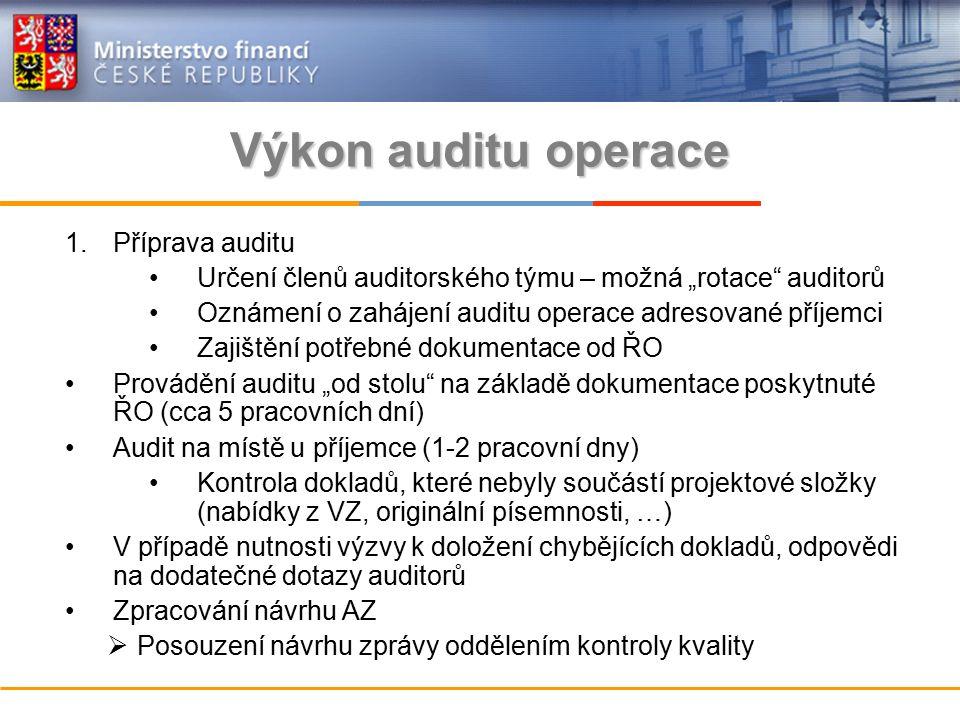"""Výkon auditu operace 1.Příprava auditu Určení členů auditorského týmu – možná """"rotace auditorů Oznámení o zahájení auditu operace adresované příjemci Zajištění potřebné dokumentace od ŘO Provádění auditu """"od stolu na základě dokumentace poskytnuté ŘO (cca 5 pracovních dní) Audit na místě u příjemce (1-2 pracovní dny) Kontrola dokladů, které nebyly součástí projektové složky (nabídky z VZ, originální písemnosti, …) V případě nutnosti výzvy k doložení chybějících dokladů, odpovědi na dodatečné dotazy auditorů Zpracování návrhu AZ  Posouzení návrhu zprávy oddělením kontroly kvality"""