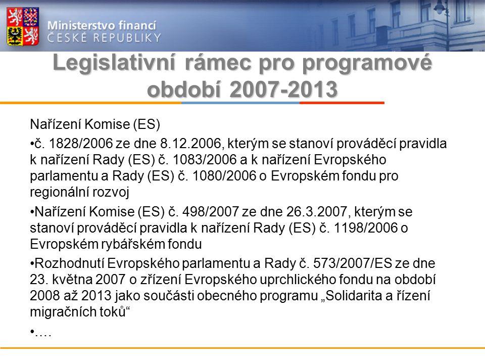 Legislativní rámec pro programové období 2007-2013 Nařízení Komise (ES) č.