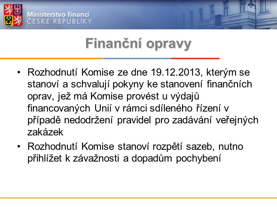 Finanční opravy Rozhodnutí Komise ze dne 19.12.2013, kterým se stanoví a schvalují pokyny ke stanovení finančních oprav, jež má Komise provést u výdajů financovaných Unií v rámci sdíleného řízení v případě nedodržení pravidel pro zadávání veřejných zakázek Rozhodnutí Komise stanoví rozpětí sazeb, nutno přihlížet k závažnosti a dopadům pochybení