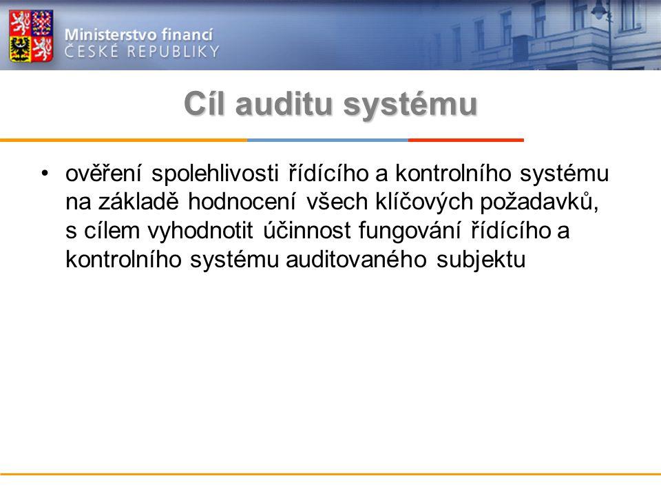 Cíl auditu systému ověření spolehlivosti řídícího a kontrolního systému na základě hodnocení všech klíčových požadavků, s cílem vyhodnotit účinnost fungování řídícího a kontrolního systému auditovaného subjektu