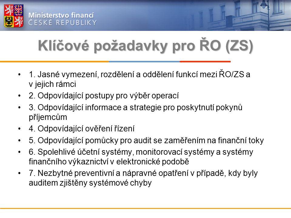 Klíčové požadavky pro ŘO (ZS) 1.