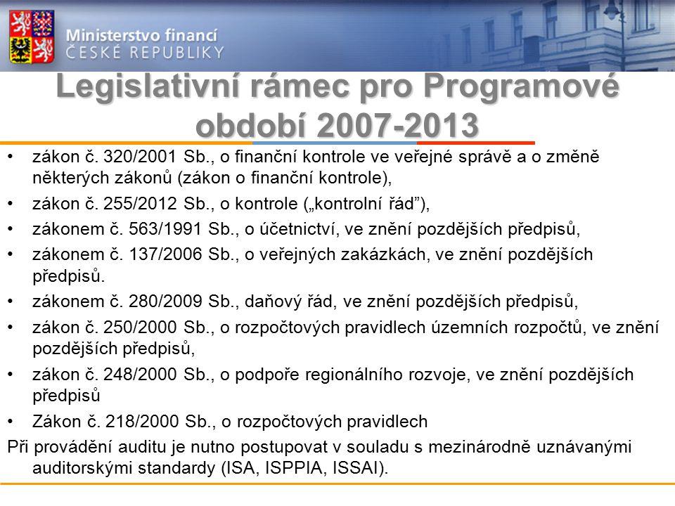 Legislativní rámec pro Programové období 2007-2013 zákon č.