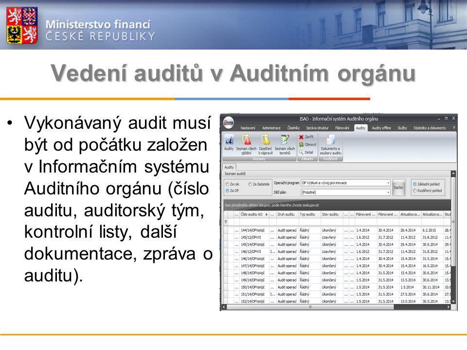 Vykonávaný audit musí být od počátku založen v Informačním systému Auditního orgánu (číslo auditu, auditorský tým, kontrolní listy, další dokumentace, zpráva o auditu).