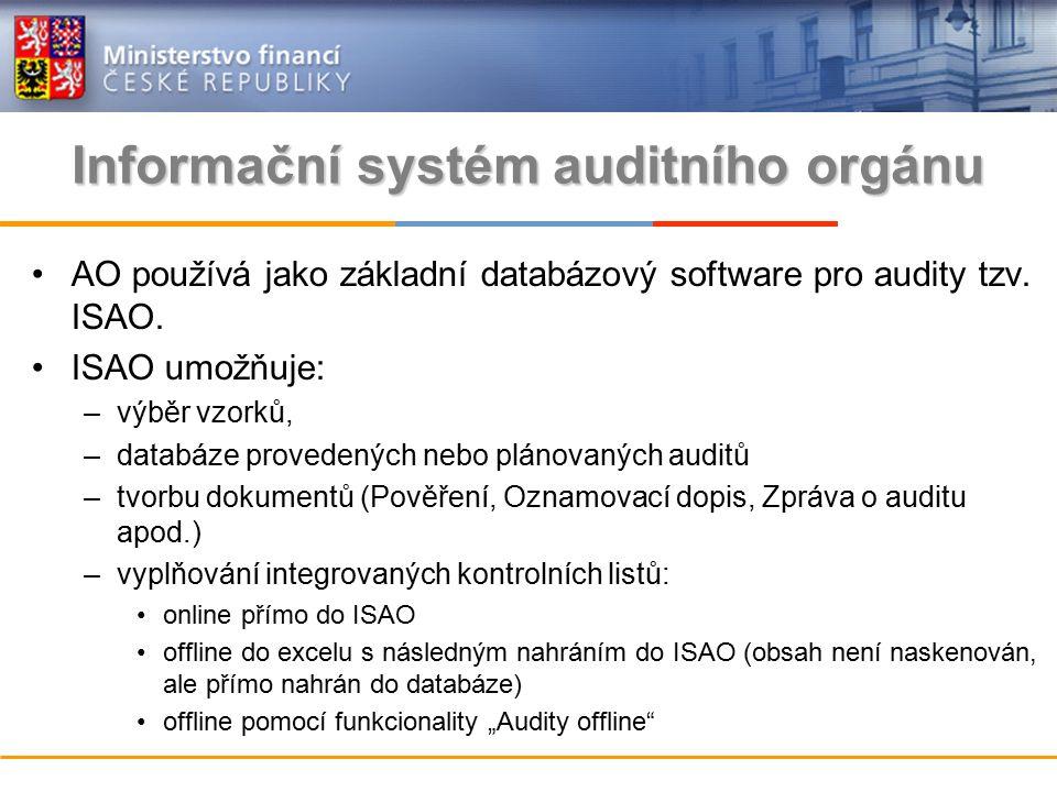 Informační systém auditního orgánu AO používá jako základní databázový software pro audity tzv.