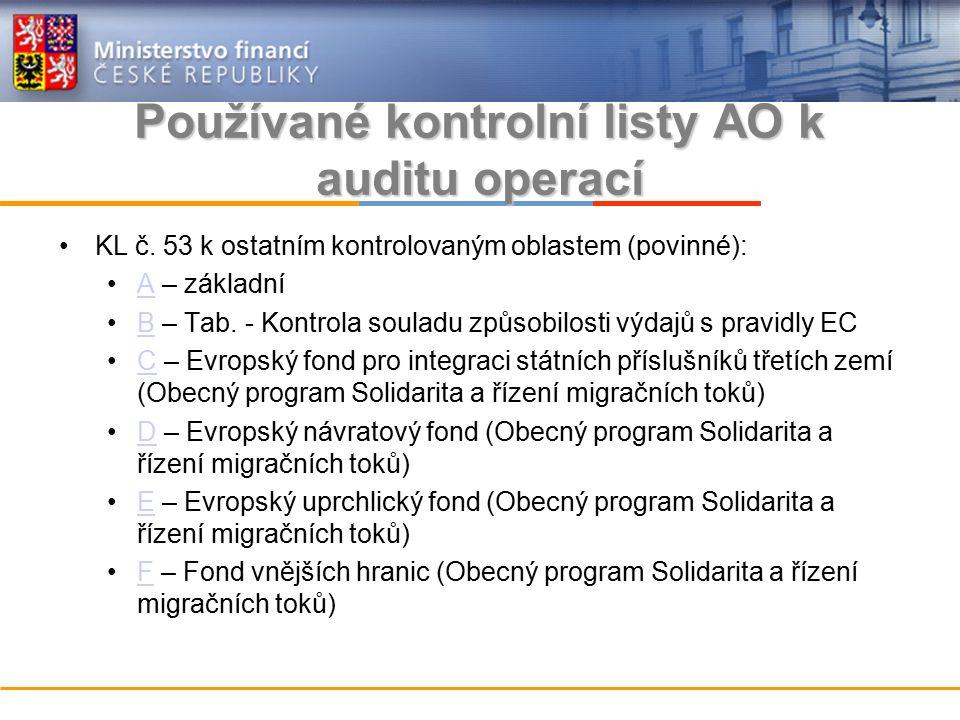 Používané kontrolní listy AO k auditu operací KL č.