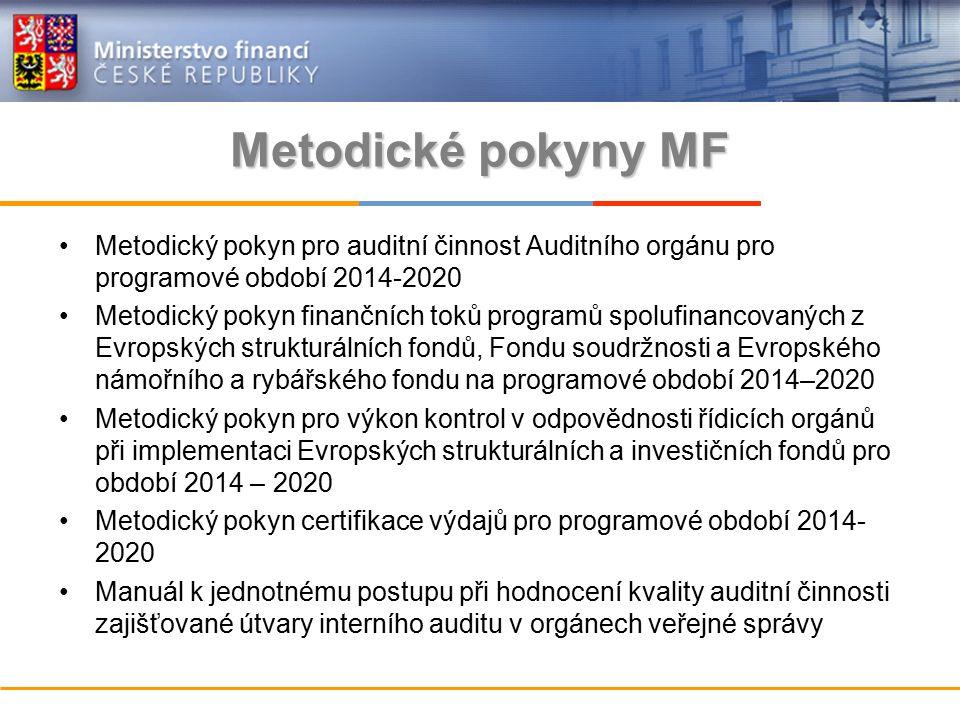 Metodické pokyny MF Metodický pokyn pro auditní činnost Auditního orgánu pro programové období 2014-2020 Metodický pokyn finančních toků programů spolufinancovaných z Evropských strukturálních fondů, Fondu soudržnosti a Evropského námořního a rybářského fondu na programové období 2014–2020 Metodický pokyn pro výkon kontrol v odpovědnosti řídicích orgánů při implementaci Evropských strukturálních a investičních fondů pro období 2014 – 2020 Metodický pokyn certifikace výdajů pro programové období 2014- 2020 Manuál k jednotnému postupu při hodnocení kvality auditní činnosti zajišťované útvary interního auditu v orgánech veřejné správy