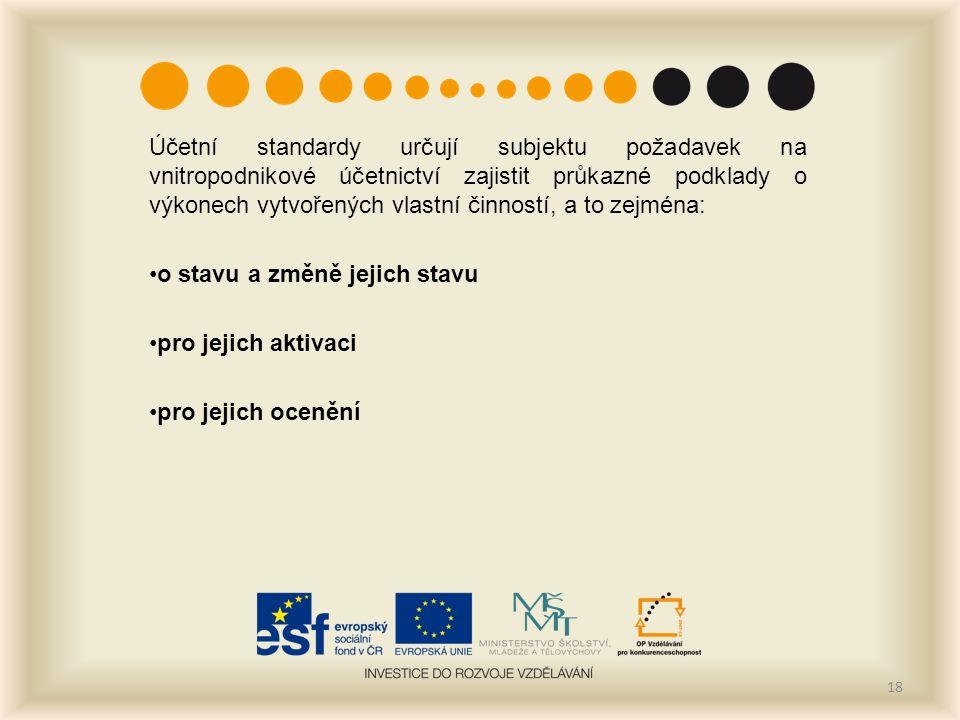 Účetní standardy určují subjektu požadavek na vnitropodnikové účetnictví zajistit průkazné podklady o výkonech vytvořených vlastní činností, a to zejména: o stavu a změně jejich stavu pro jejich aktivaci pro jejich ocenění 18
