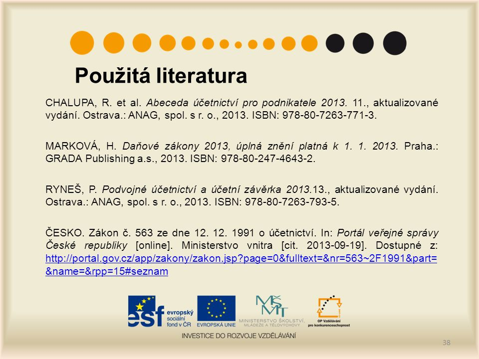 Použitá literatura CHALUPA, R. et al. Abeceda účetnictví pro podnikatele 2013.
