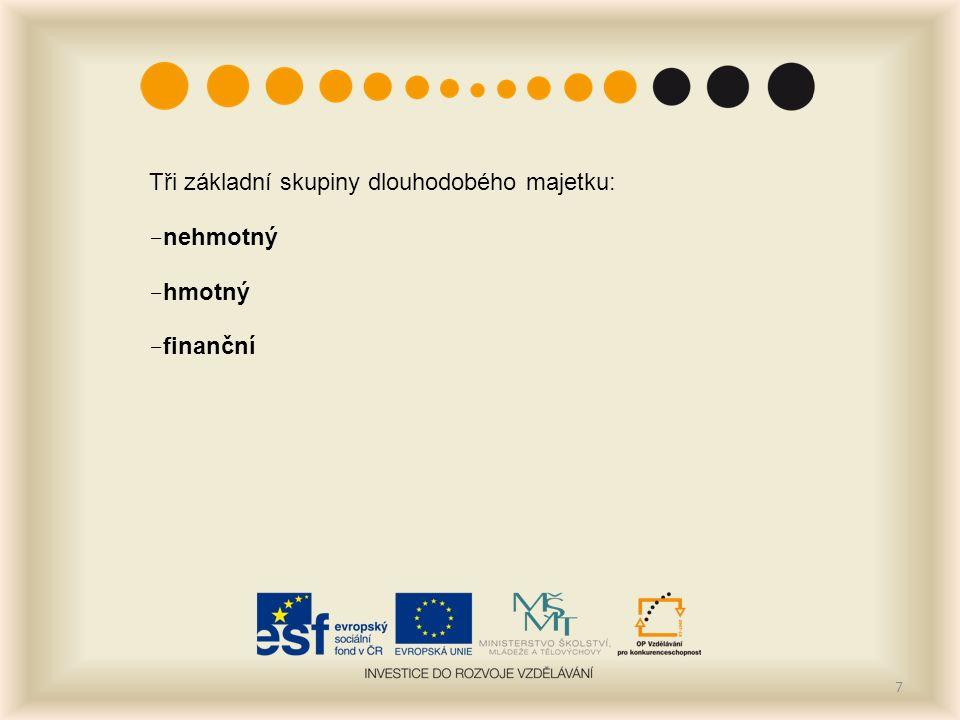 Tři základní skupiny dlouhodobého majetku: - nehmotný - hmotný - finanční 7